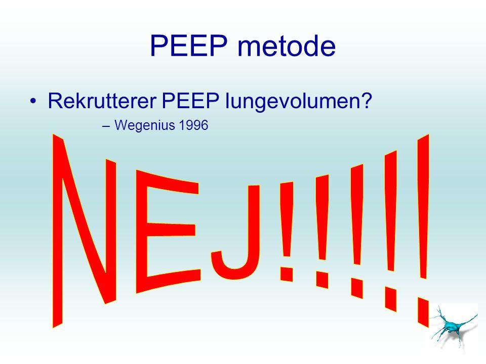 CPAP/PEEP metoden •1.PCV  CPAP •2. PEEP  til 45 cm H 2 O i 45 s •3.