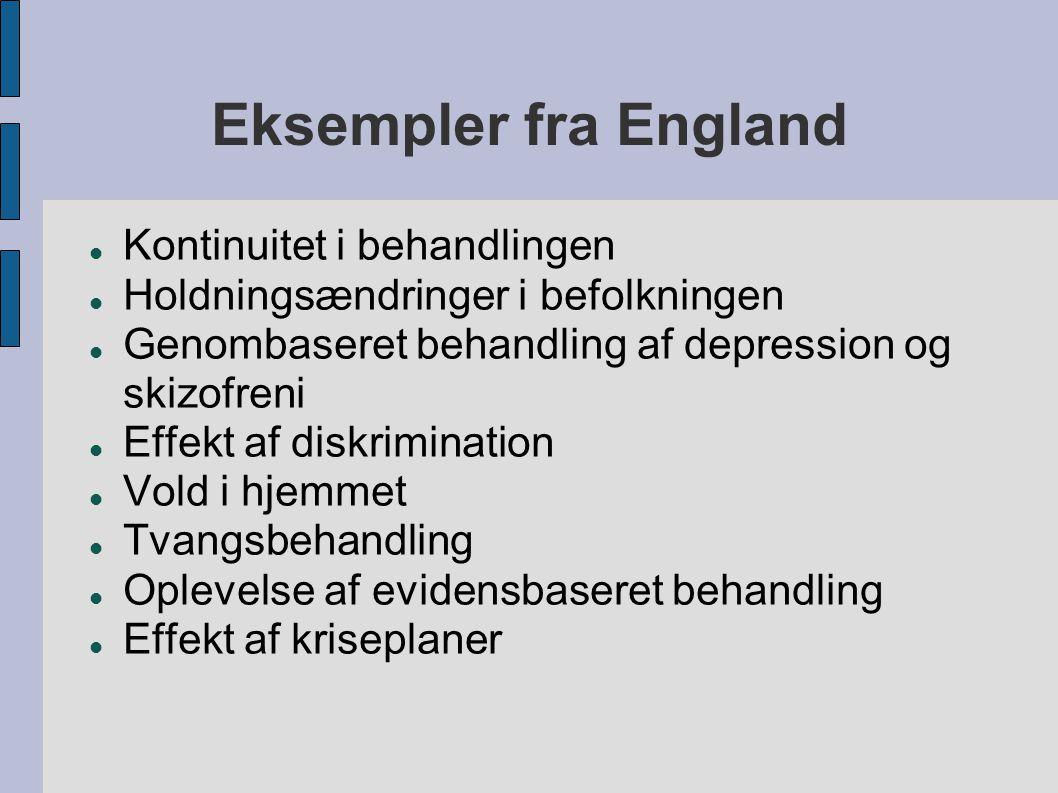 Eksempler fra England  Kontinuitet i behandlingen  Holdningsændringer i befolkningen  Genombaseret behandling af depression og skizofreni  Effekt af diskrimination  Vold i hjemmet  Tvangsbehandling  Oplevelse af evidensbaseret behandling  Effekt af kriseplaner