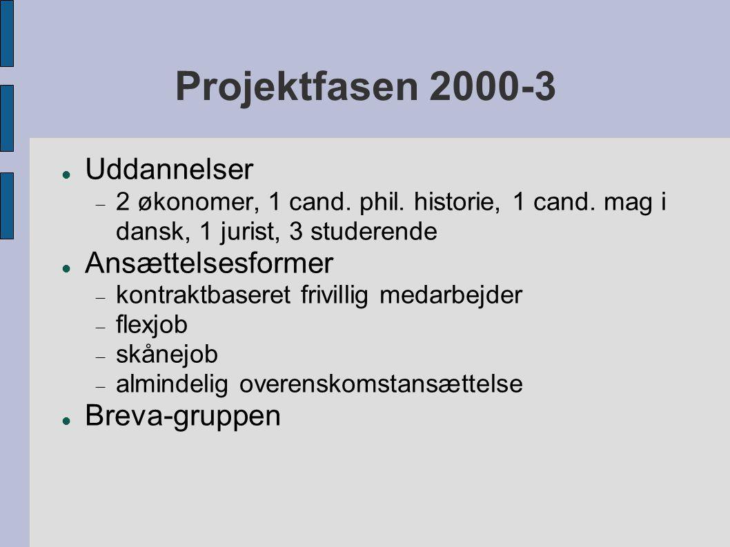 Projektfasen 2000-3  Uddannelser  2 økonomer, 1 cand.