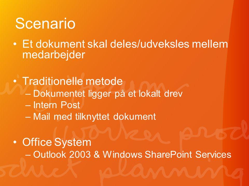 Scenario •Et dokument skal deles/udveksles mellem medarbejder •Traditionelle metode –Dokumentet ligger på et lokalt drev –Intern Post –Mail med tilknyttet dokument •Office System –Outlook 2003 & Windows SharePoint Services