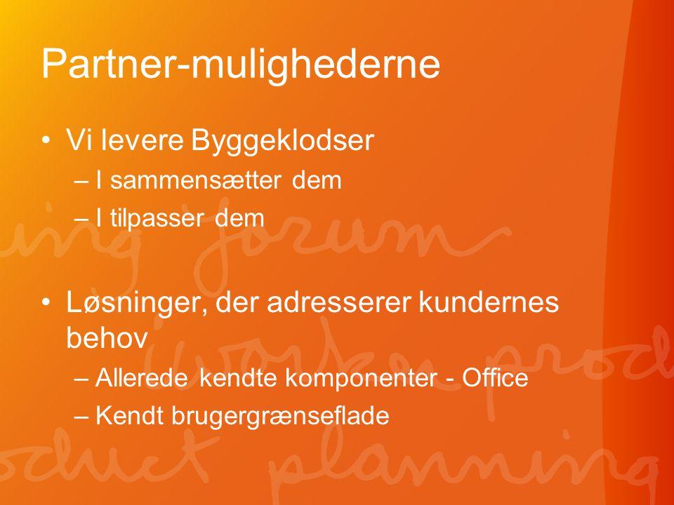 Partner-mulighederne •Vi levere Byggeklodser –I sammensætter dem –I tilpasser dem •Løsninger, der adresserer kundernes behov –Allerede kendte komponenter - Office –Kendt brugergrænseflade