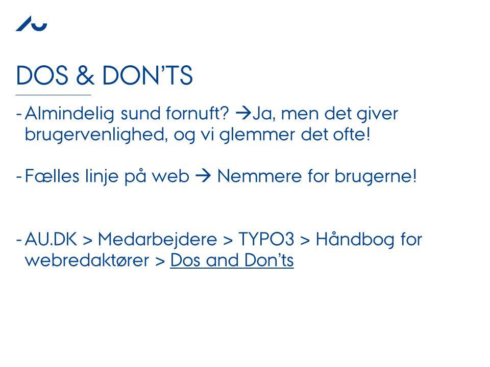 PRESENTATION TITLE AUTHOR NAME 3. JANUAR 2011 DOS & DON'TS - Almindelig sund fornuft.