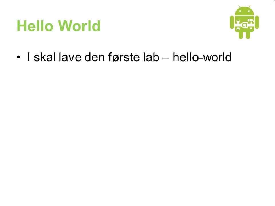 Hello World •I skal lave den første lab – hello-world