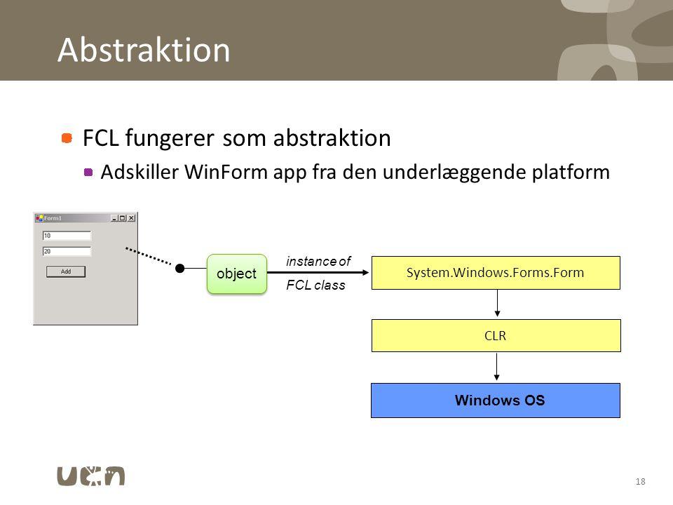 Abstraktion FCL fungerer som abstraktion Adskiller WinForm app fra den underlæggende platform 18 System.Windows.Forms.Form CLR Windows OS instance of FCL class object