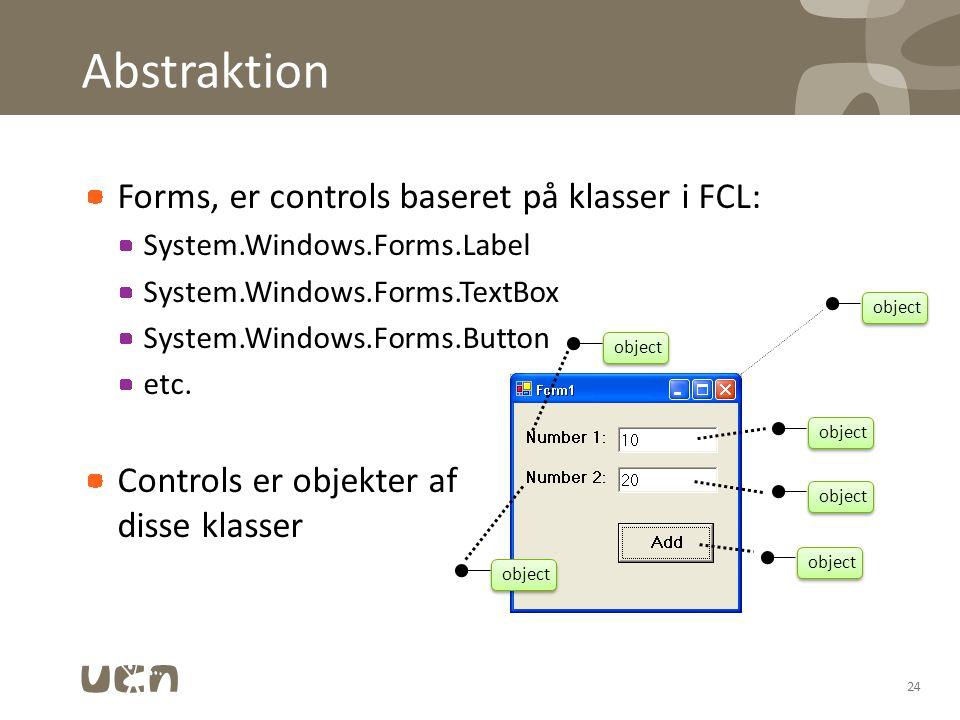 Abstraktion Forms, er controls baseret på klasser i FCL: System.Windows.Forms.Label System.Windows.Forms.TextBox System.Windows.Forms.Button etc.