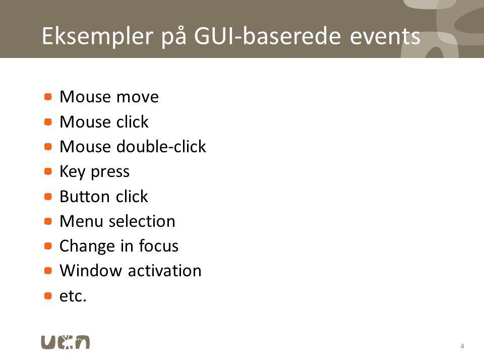 Eksempler på GUI-baserede events Mouse move Mouse click Mouse double-click Key press Button click Menu selection Change in focus Window activation etc.