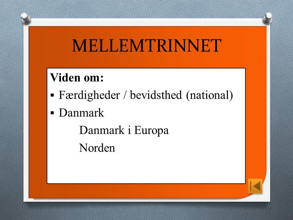 MELLEMTRINNET Viden om:  Færdigheder / bevidsthed (national)  Danmark Danmark i Europa Norden