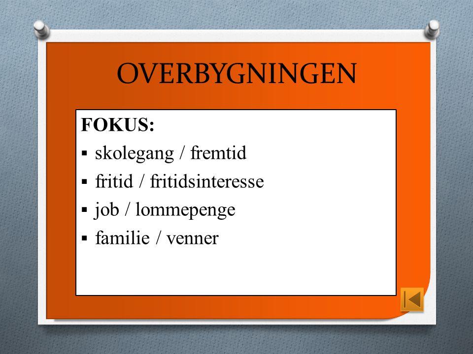 OVERBYGNINGEN FOKUS:  skolegang / fremtid  fritid / fritidsinteresse  job / lommepenge  familie / venner