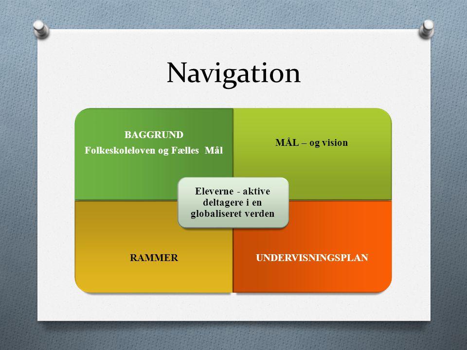 Navigation BAGGRUND Folkeskoleloven og Fælles Mål MÅL – og vision RAMMERUNDERVISNINGSPLAN Eleverne - aktive deltagere i en globaliseret verden