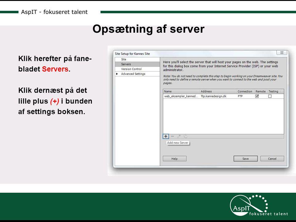 Opsætning af server Klik herefter på fane- bladet Servers.