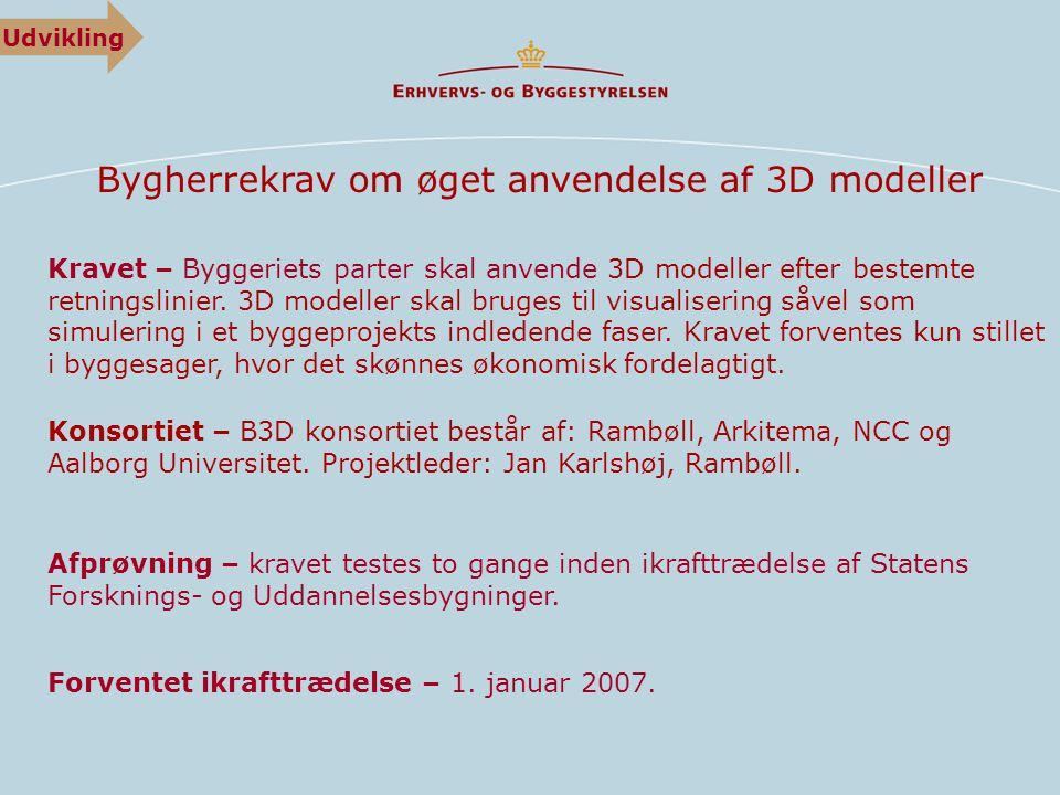 Bygherrekrav om øget anvendelse af 3D modeller Kravet – Byggeriets parter skal anvende 3D modeller efter bestemte retningslinier.