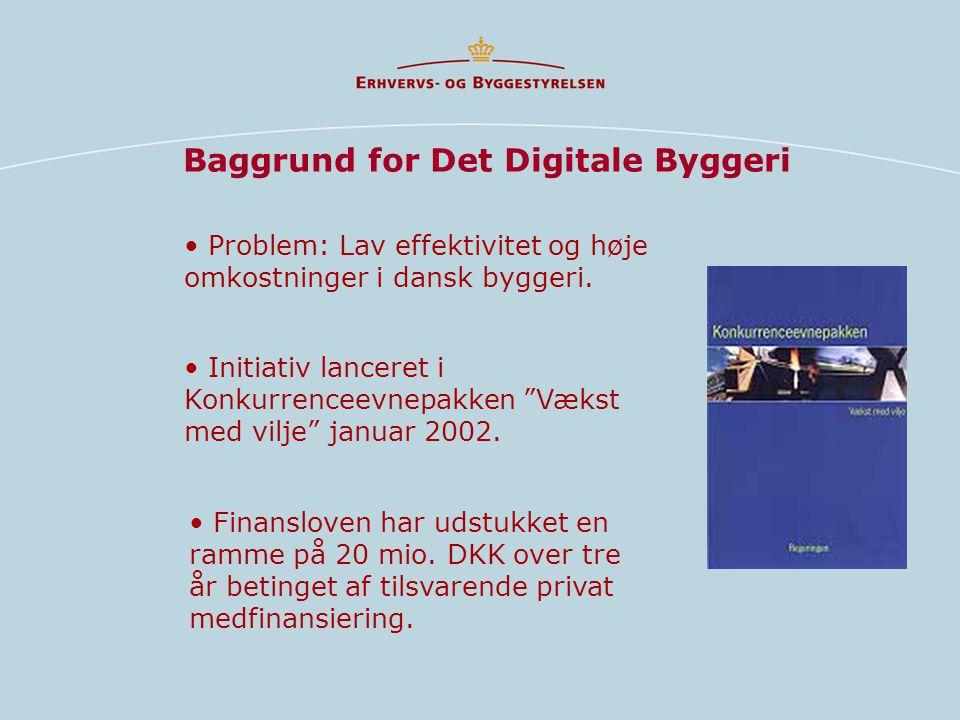 Baggrund for Det Digitale Byggeri • Initiativ lanceret i Konkurrenceevnepakken Vækst med vilje januar 2002.