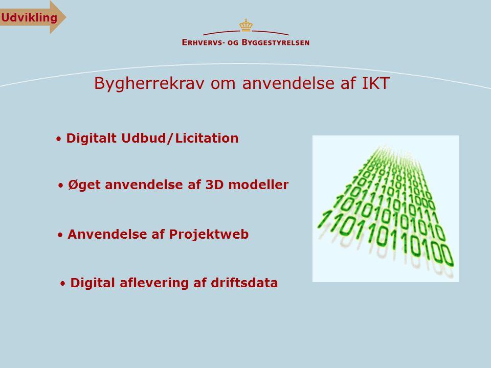 Bygherrekrav om anvendelse af IKT • Anvendelse af Projektweb • Digitalt Udbud/Licitation • Øget anvendelse af 3D modeller • Digital aflevering af driftsdata Udvikling