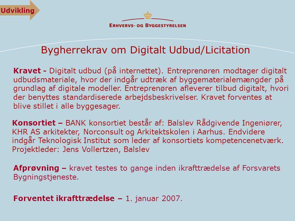 Bygherrekrav om Digitalt Udbud/Licitation Kravet - Digitalt udbud (på internettet).