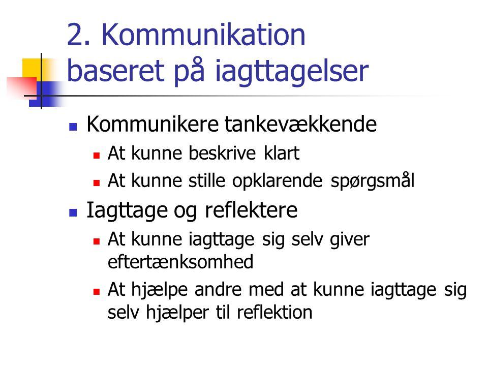 2. Kommunikation baseret på iagttagelser  Kommunikere tankevækkende  At kunne beskrive klart  At kunne stille opklarende spørgsmål  Iagttage og re