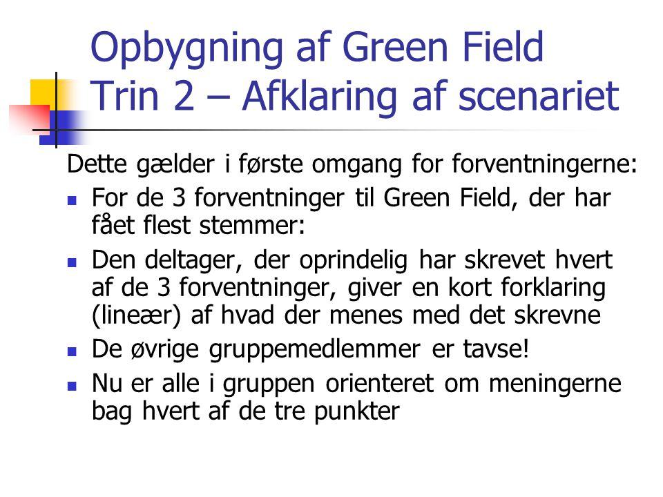 Opbygning af Green Field Trin 2 – Afklaring af scenariet Dette gælder i første omgang for forventningerne:  For de 3 forventninger til Green Field, der har fået flest stemmer:  Den deltager, der oprindelig har skrevet hvert af de 3 forventninger, giver en kort forklaring (lineær) af hvad der menes med det skrevne  De øvrige gruppemedlemmer er tavse.