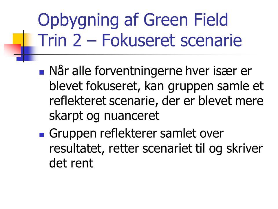 Opbygning af Green Field Trin 2 – Fokuseret scenarie  Når alle forventningerne hver især er blevet fokuseret, kan gruppen samle et reflekteret scenarie, der er blevet mere skarpt og nuanceret  Gruppen reflekterer samlet over resultatet, retter scenariet til og skriver det rent