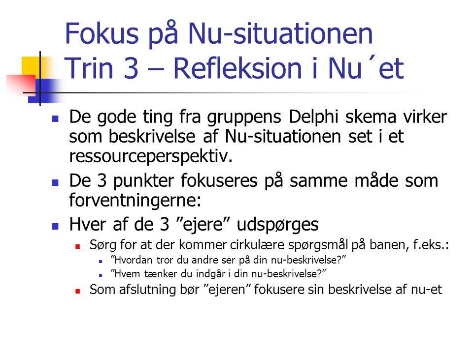 Fokus på Nu-situationen Trin 3 – Refleksion i Nu´et  De gode ting fra gruppens Delphi skema virker som beskrivelse af Nu-situationen set i et ressourceperspektiv.