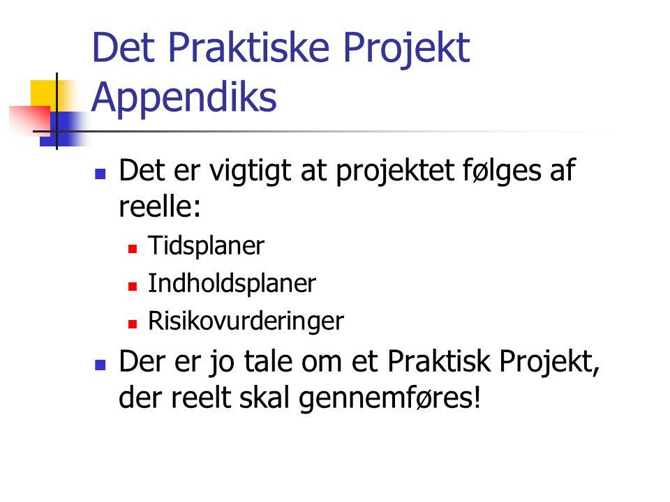 Det Praktiske Projekt Appendiks  Det er vigtigt at projektet følges af reelle:  Tidsplaner  Indholdsplaner  Risikovurderinger  Der er jo tale om et Praktisk Projekt, der reelt skal gennemføres!