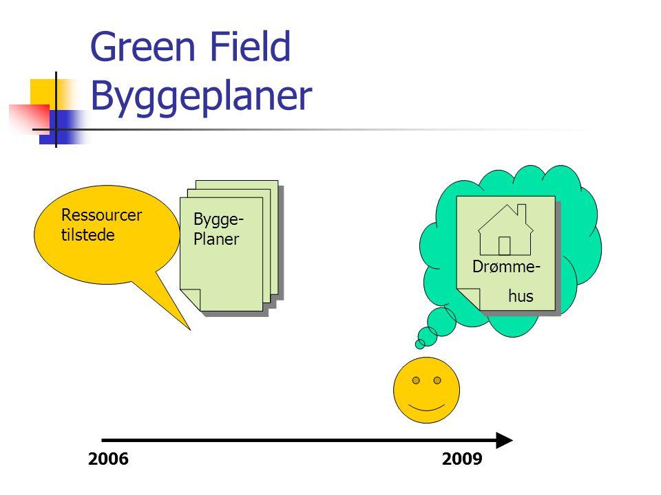 Opbygning af Green Field Trin 1  Opdel jer i grupper  I hver gruppe skal hver enkelt deltager gøre sig tanker om gruppens projekt:  Skab dig et billede af hvordan projektet ser ud - ude i fremtiden  Hvad er dit mål med projektet.