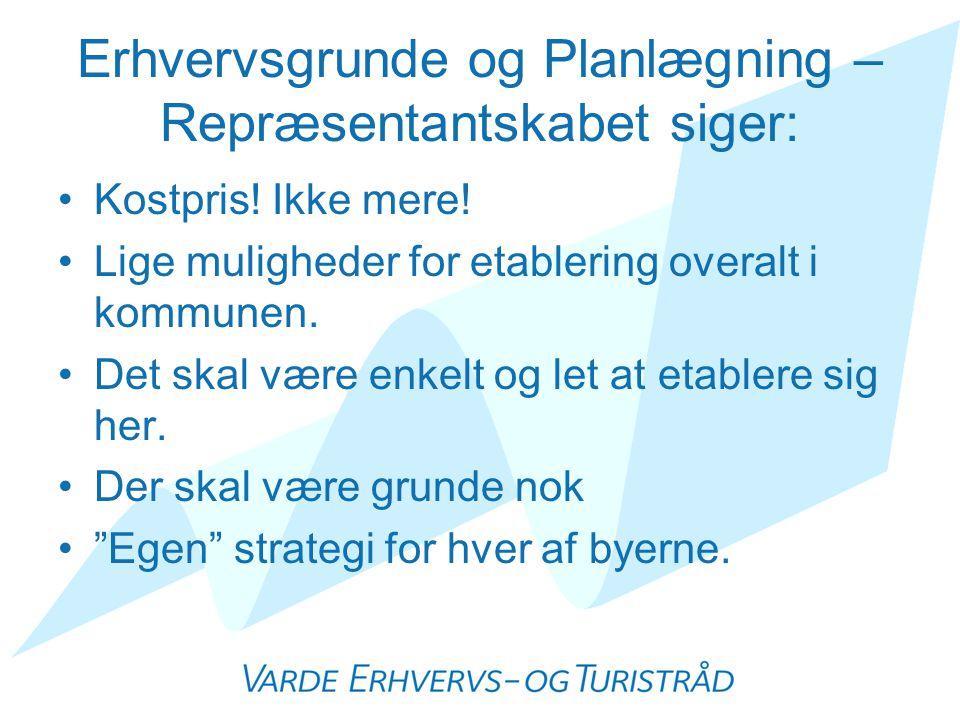 Erhvervsgrunde og Planlægning – Repræsentantskabet siger: •Kostpris.