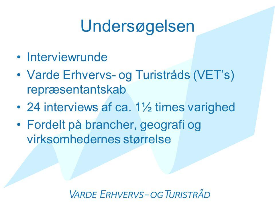 Undersøgelsen •Interviewrunde •Varde Erhvervs- og Turistråds (VET's) repræsentantskab •24 interviews af ca.