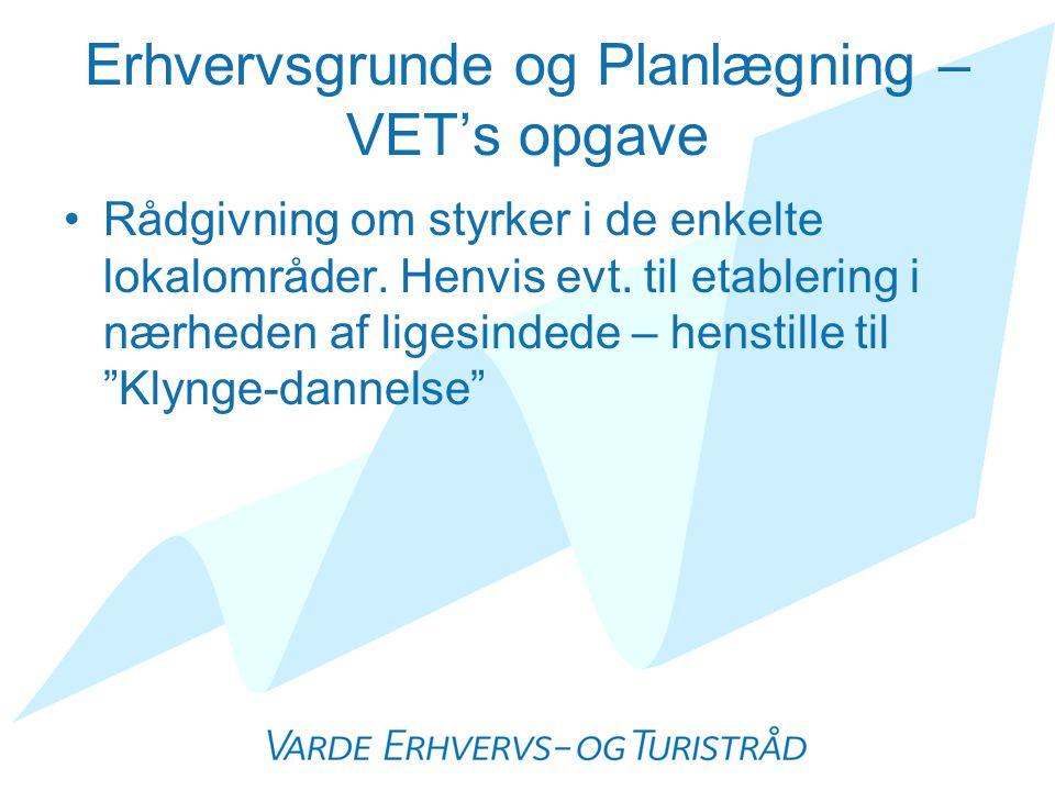Erhvervsgrunde og Planlægning – VET's opgave •Rådgivning om styrker i de enkelte lokalområder.