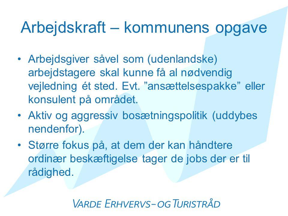 Arbejdskraft – kommunens opgave •Arbejdsgiver såvel som (udenlandske) arbejdstagere skal kunne få al nødvendig vejledning ét sted.