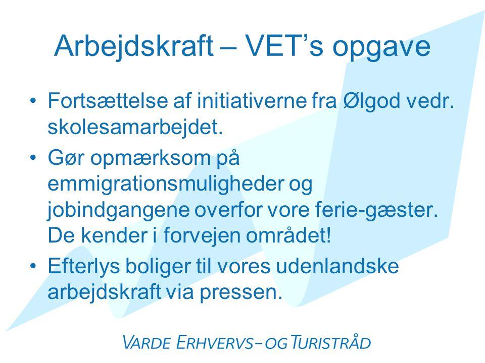 Arbejdskraft – VET's opgave •Fortsættelse af initiativerne fra Ølgod vedr.