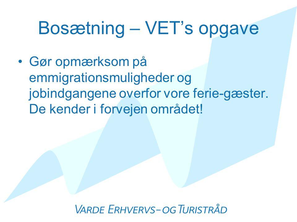 Bosætning – VET's opgave •Gør opmærksom på emmigrationsmuligheder og jobindgangene overfor vore ferie-gæster.