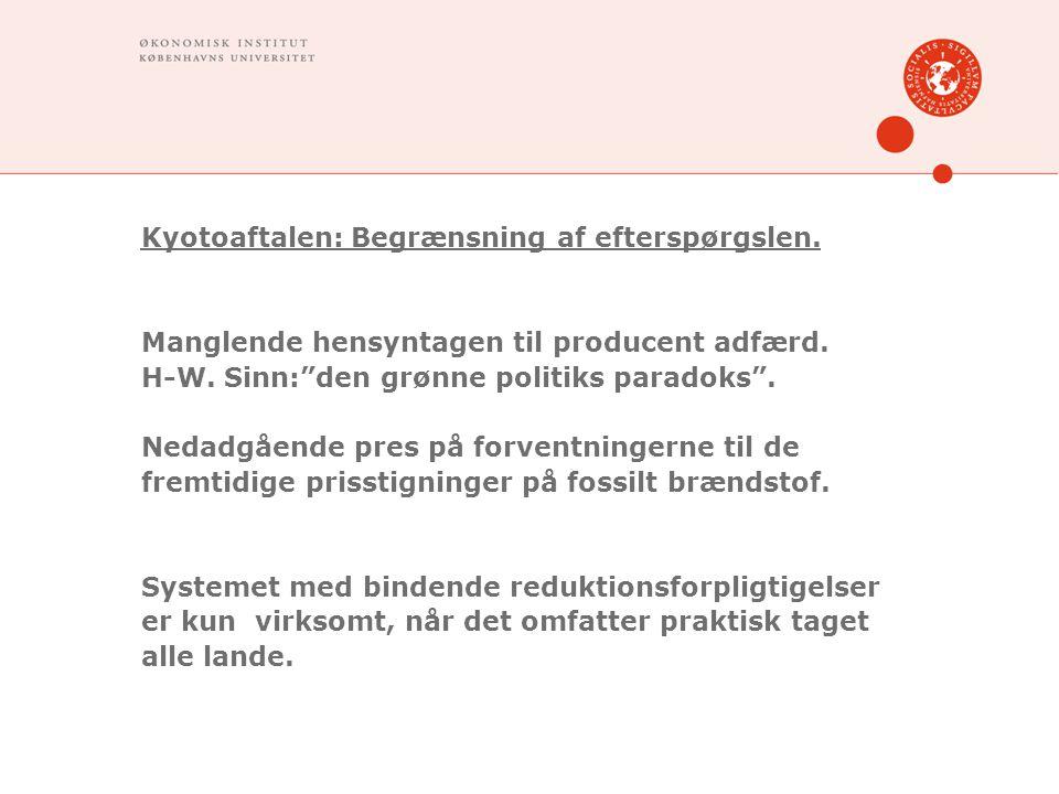 Kyotoaftalen: Begrænsning af efterspørgslen. Manglende hensyntagen til producent adfærd.
