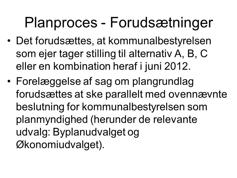 Planproces - Forudsætninger •Det forudsættes, at kommunalbestyrelsen som ejer tager stilling til alternativ A, B, C eller en kombination heraf i juni 2012.