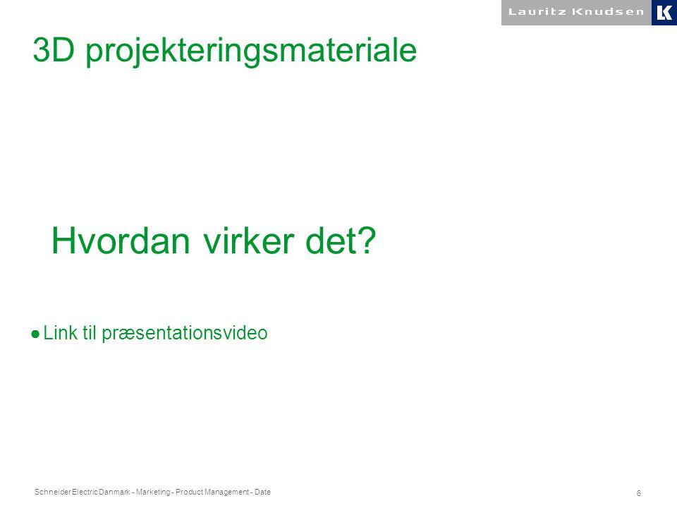Schneider Electric Danmark - Marketing - Product Management - Date 6 3D projekteringsmateriale Hvordan virker det.