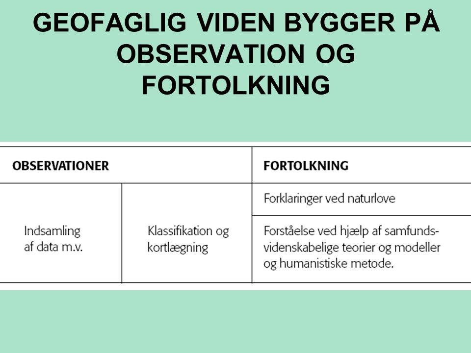 GEOFAGLIG VIDEN BYGGER PÅ OBSERVATION OG FORTOLKNING