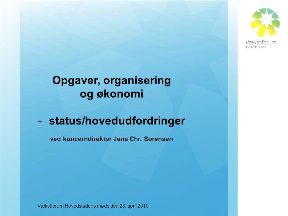 Opgaver, organisering og økonomi -status/hovedudfordringer ved koncerndirektør Jens Chr.