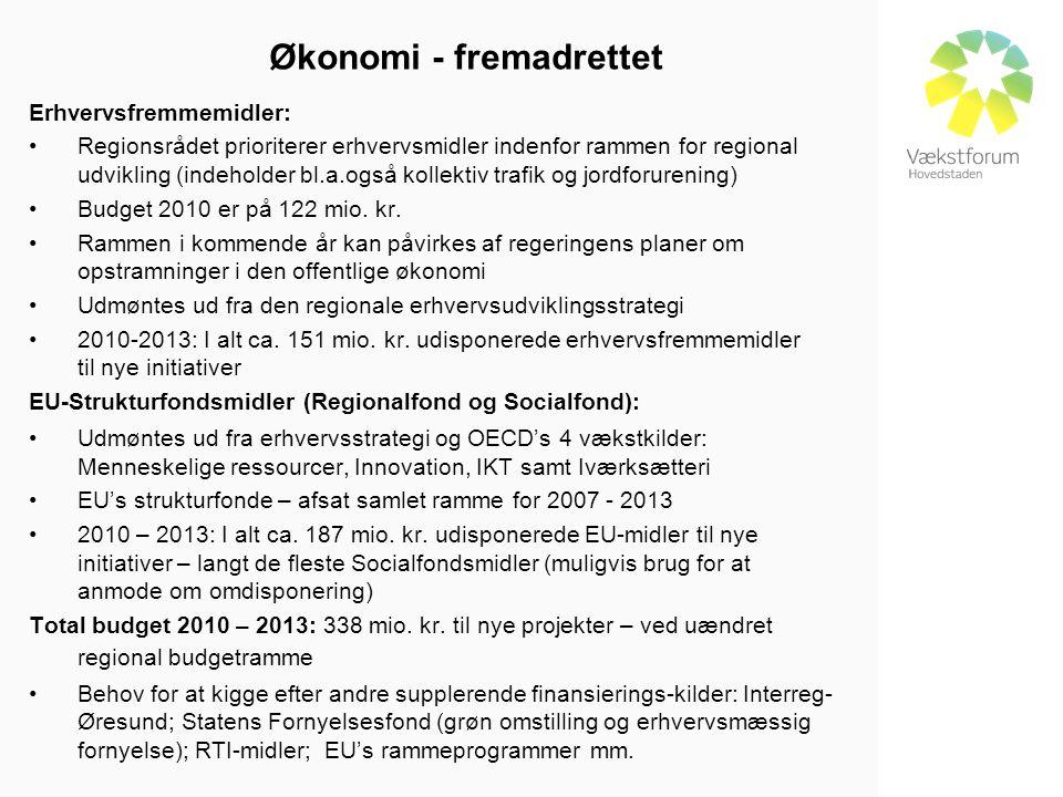 Økonomi - fremadrettet Erhvervsfremmemidler: •Regionsrådet prioriterer erhvervsmidler indenfor rammen for regional udvikling (indeholder bl.a.også kollektiv trafik og jordforurening) •Budget 2010 er på 122 mio.