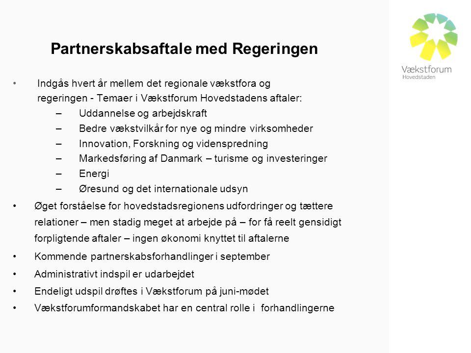Partnerskabsaftale med Regeringen • Indgås hvert år mellem det regionale vækstfora og regeringen - Temaer i Vækstforum Hovedstadens aftaler: –Uddannelse og arbejdskraft –Bedre vækstvilkår for nye og mindre virksomheder –Innovation, Forskning og videnspredning –Markedsføring af Danmark – turisme og investeringer –Energi –Øresund og det internationale udsyn •Øget forståelse for hovedstadsregionens udfordringer og tættere relationer – men stadig meget at arbejde på – for få reelt gensidigt forpligtende aftaler – ingen økonomi knyttet til aftalerne •Kommende partnerskabsforhandlinger i september •Administrativt indspil er udarbejdet •Endeligt udspil drøftes i Vækstforum på juni-mødet •Vækstforumformandskabet har en central rolle i forhandlingerne