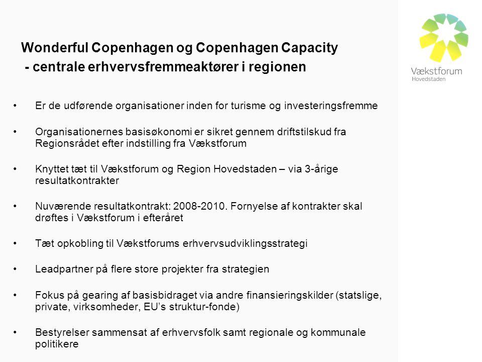 Wonderful Copenhagen og Copenhagen Capacity - centrale erhvervsfremmeaktører i regionen •Er de udførende organisationer inden for turisme og investeringsfremme •Organisationernes basisøkonomi er sikret gennem driftstilskud fra Regionsrådet efter indstilling fra Vækstforum •Knyttet tæt til Vækstforum og Region Hovedstaden – via 3-årige resultatkontrakter •Nuværende resultatkontrakt: 2008-2010.