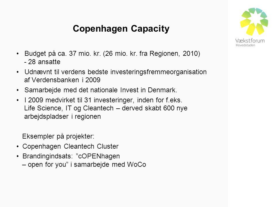 Copenhagen Capacity • Budget på ca. 37 mio. kr. (26 mio.