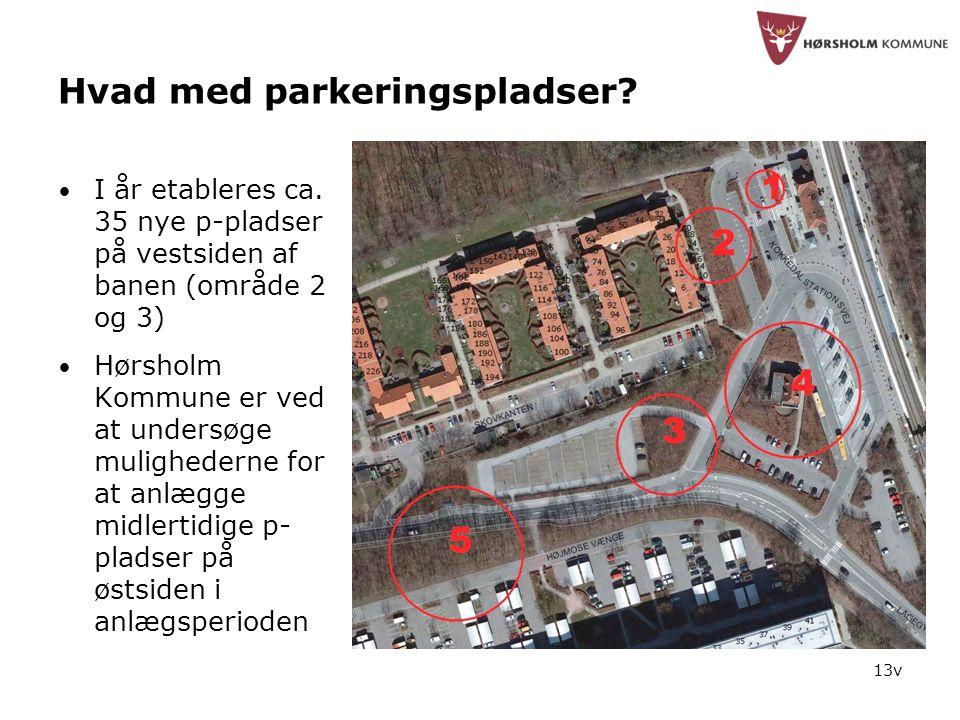 13v Hvad med parkeringspladser. • I år etableres ca.