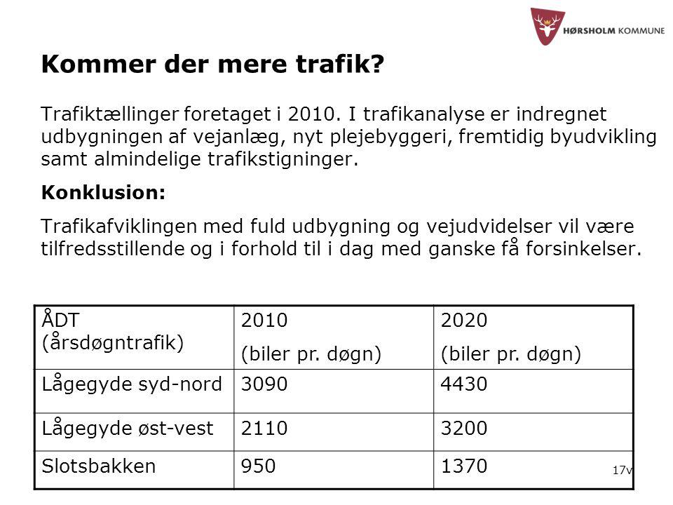 17v Kommer der mere trafik. Trafiktællinger foretaget i 2010.