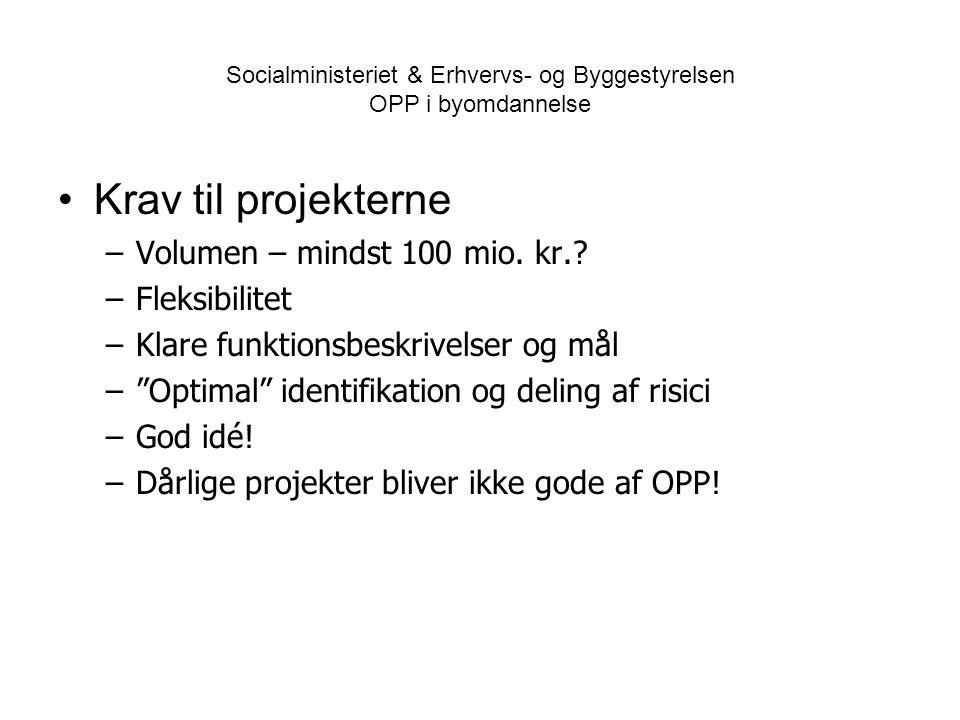 Socialministeriet & Erhvervs- og Byggestyrelsen OPP i byomdannelse •Krav til projekterne –Volumen – mindst 100 mio.