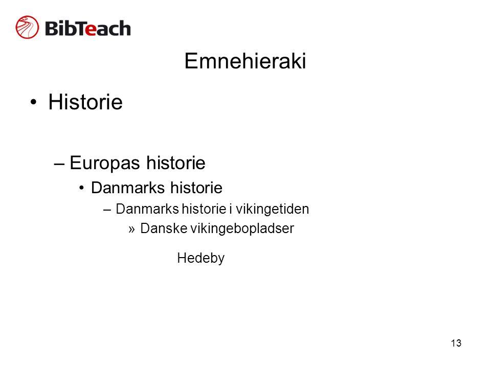 13 Emnehieraki •Historie –Europas historie •Danmarks historie –Danmarks historie i vikingetiden »Danske vikingebopladser Hedeby