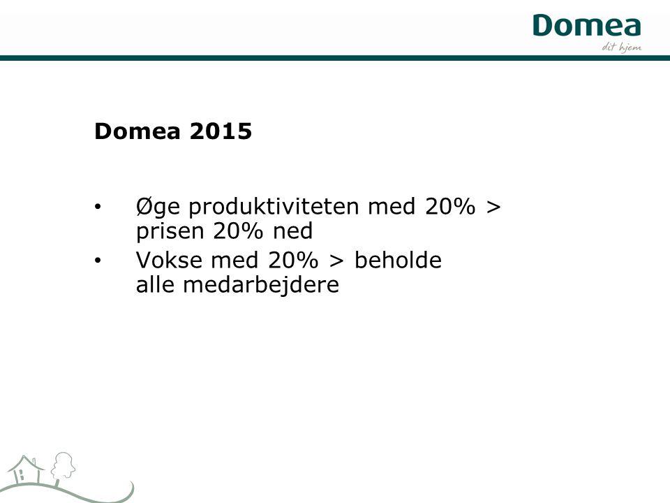 Domea 2015 • Øge produktiviteten med 20% > prisen 20% ned • Vokse med 20% > beholde alle medarbejdere