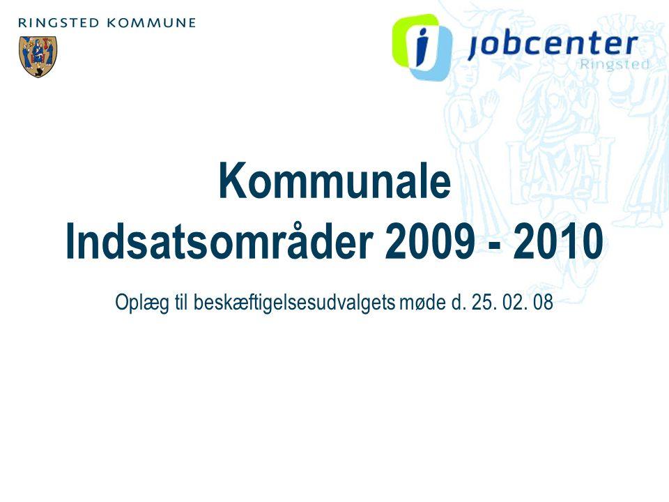 Kommunale Indsatsområder 2009 - 2010 Oplæg til beskæftigelsesudvalgets møde d. 25. 02. 08