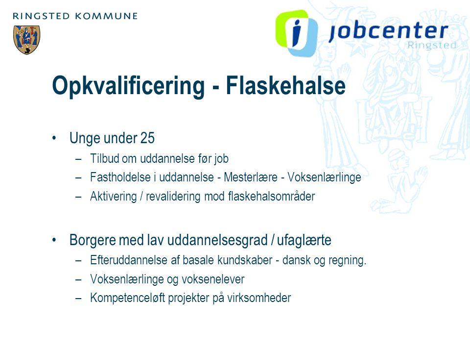 Opkvalificering - Flaskehalse •Unge under 25 –Tilbud om uddannelse før job –Fastholdelse i uddannelse - Mesterlære - Voksenlærlinge –Aktivering / revalidering mod flaskehalsområder •Borgere med lav uddannelsesgrad / ufaglærte –Efteruddannelse af basale kundskaber - dansk og regning.