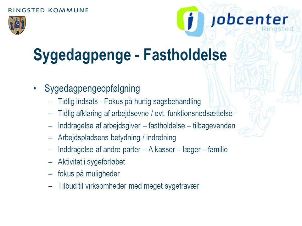 Sygedagpenge - Fastholdelse •Sygedagpengeopfølgning –Tidlig indsats - Fokus på hurtig sagsbehandling –Tidlig afklaring af arbejdsevne / evt.