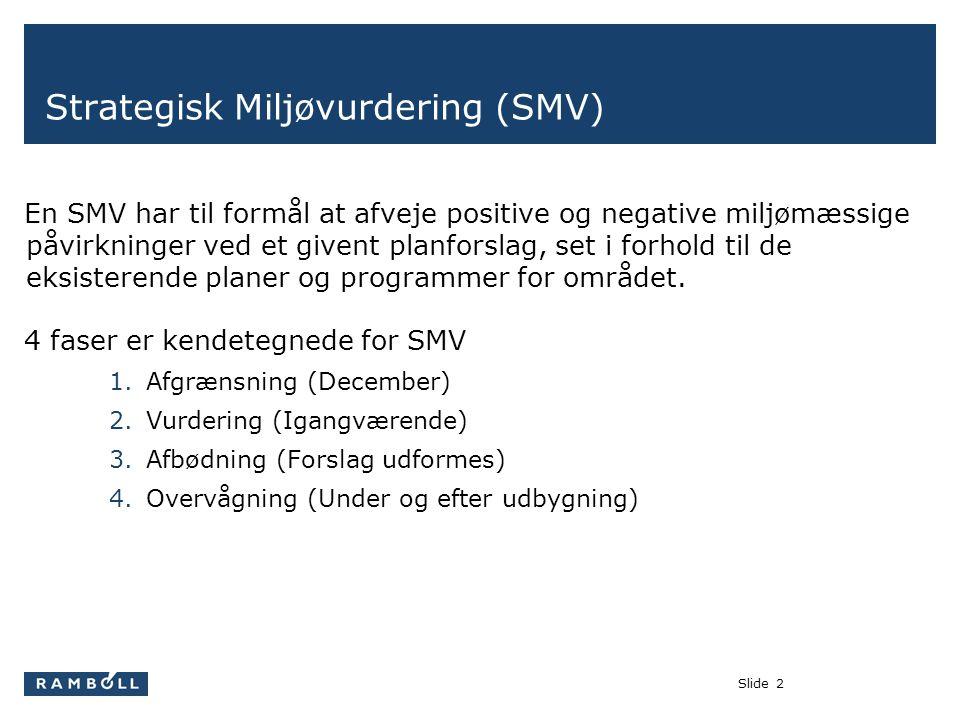 Slide2 Strategisk Miljøvurdering (SMV) En SMV har til formål at afveje positive og negative miljømæssige påvirkninger ved et givent planforslag, set i forhold til de eksisterende planer og programmer for området.