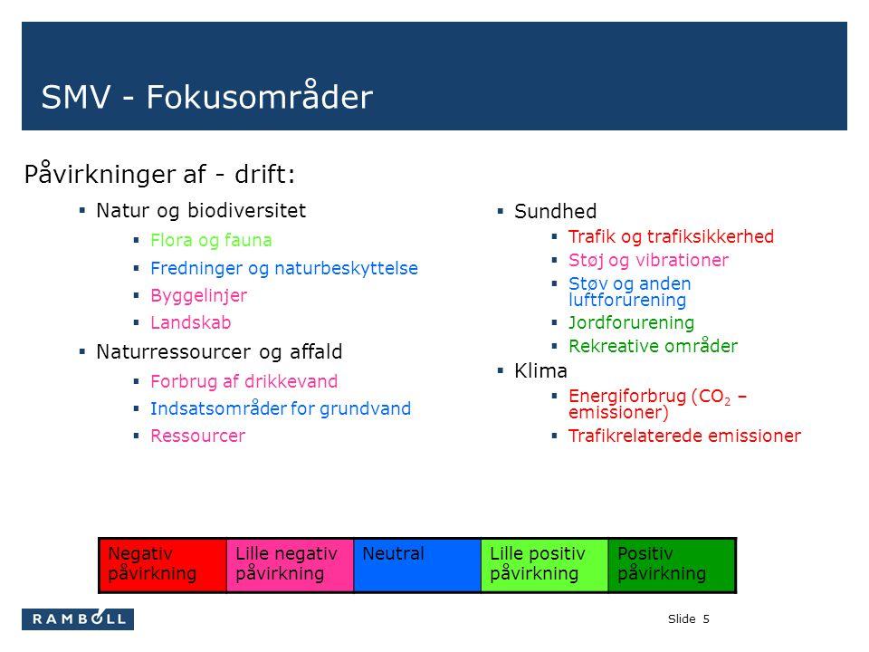 Slide5 SMV - Fokusområder Påvirkninger af - drift:  Natur og biodiversitet  Flora og fauna  Fredninger og naturbeskyttelse  Byggelinjer  Landskab  Naturressourcer og affald  Forbrug af drikkevand  Indsatsområder for grundvand  Ressourcer  Sundhed  Trafik og trafiksikkerhed  Støj og vibrationer  Støv og anden luftforurening  Jordforurening  Rekreative områder  Klima  Energiforbrug (CO 2 – emissioner)  Trafikrelaterede emissioner Negativ påvirkning Lille negativ påvirkning NeutralLille positiv påvirkning Positiv påvirkning