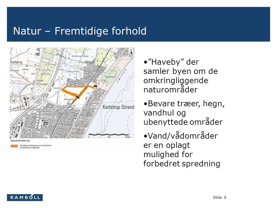 Slide9 Natur – Fremtidige forhold • Haveby der samler byen om de omkringliggende naturområder •Bevare træer, hegn, vandhul og ubenyttede områder •Vand/vådområder er en oplagt mulighed for forbedret spredning
